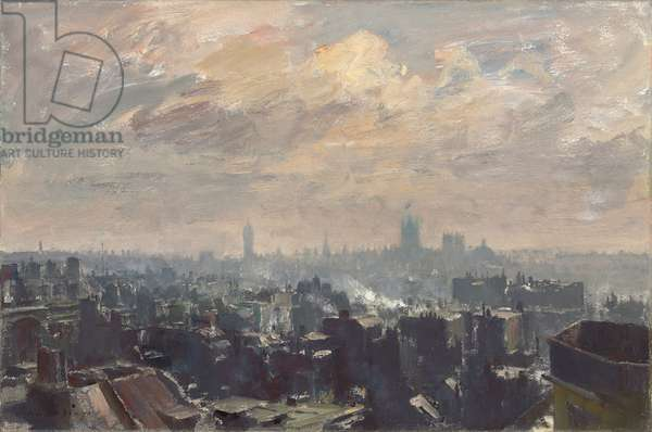 Westminster from Mayfair,  (oil on cavas)