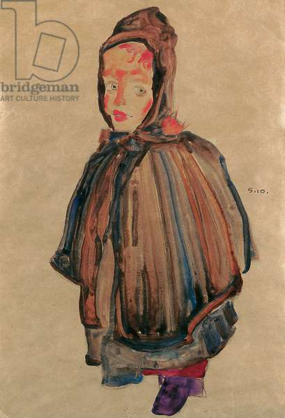 Girl with hood, 1910 (gouache, w/c & pencil on paper)