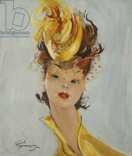 Elegant Hat; Elegante au Chapeau, (oil on board)