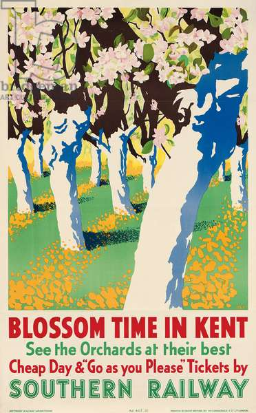 'Blossom Time in Kent', poster advertising Southern Railway, 1937 (colour litho)