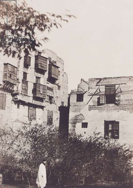 Cairo, house and garden in the French Quarter, with Gustave Flaubert, 1850 (blanquart-everard process print)