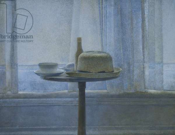 Still Life with Objects on a Pedestal Table, 1988 (egg tempera on board)
