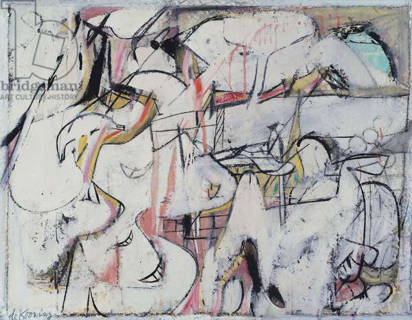 Mailbox, 1948 (oil, enamel and charcoal on paper mounted on panel)