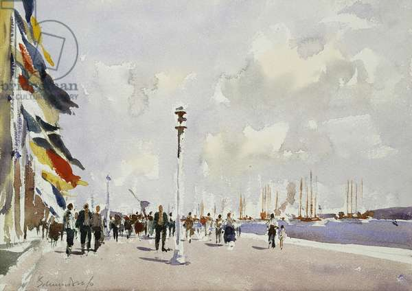 Blessing of the Schooner Fleet at Belem, Portugal, (watercolour)