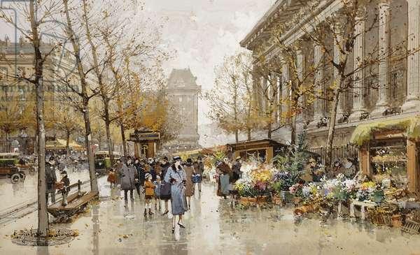 Paris Street in Autumn,  (gouache over traces of pencil on cream paper)