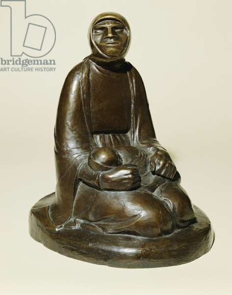 Beggar Woman with a Child (Blind Beggar with a Child); Bettlerin mit Kind (Blinde Bettlerin mit Kind), conceived in 1907 and cast in 1930 (bronze with brown patina)