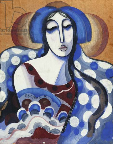 The Gypsy; La Gitane, (gouache on brown paper)