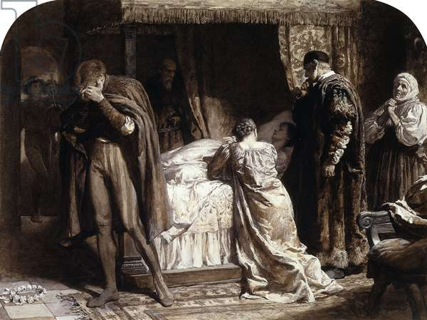 Scenes from Romeo and Juliet: Juliet's Chamber (IV, V), 1882 (gouache, en grisaille)