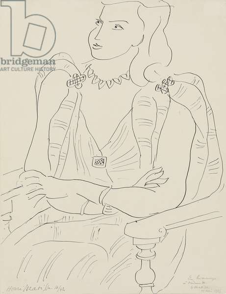 Seated Woman; Femme assise, 1942 (pen and India ink on paper)