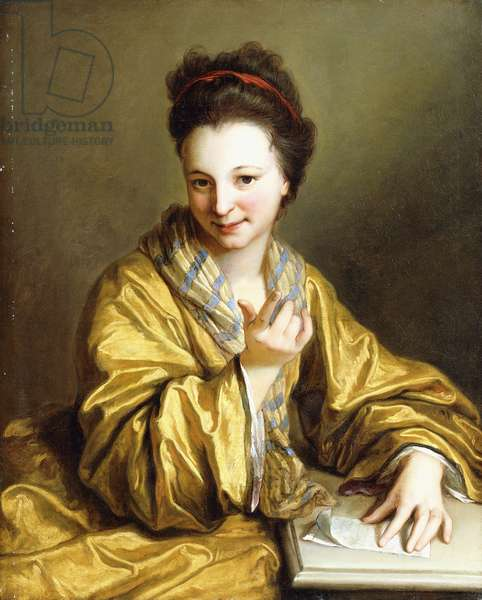 A Young Lady, Wearing a Yellow Robe, seated at a Table, Beckoning, 1703 (oil on canvas)