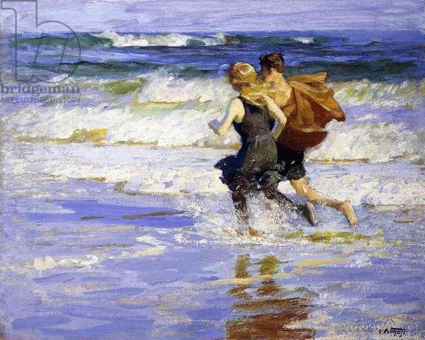 At the Beach,  (oil on canvas)