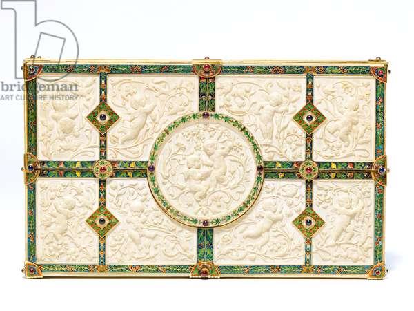 Rare bank note holder for Boucheron, 1893 (ivory, gold, enamel, rubies, sapphires & amethysts)