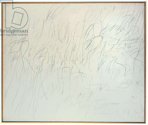 Untitled (Rome), 1958 (oil based house paint, wax crayon and pencil on canvas)