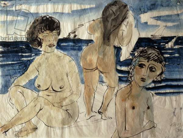 Bathers on the Beach; Badende am Strand, 1923 (watercolour and black ink on paper)