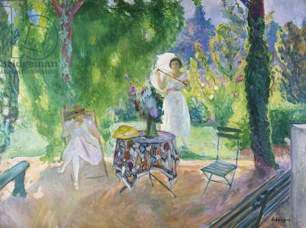 Two Women in a Garden in Summer, c.1923 (oil on canvas)