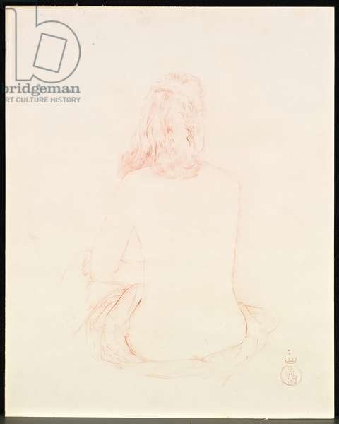 Naked Back, Gala, 1962 (red chalk on paper)