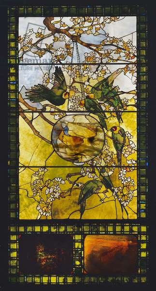 Parakeets and Gold Fish Bowl, c.1893 (stained glass)