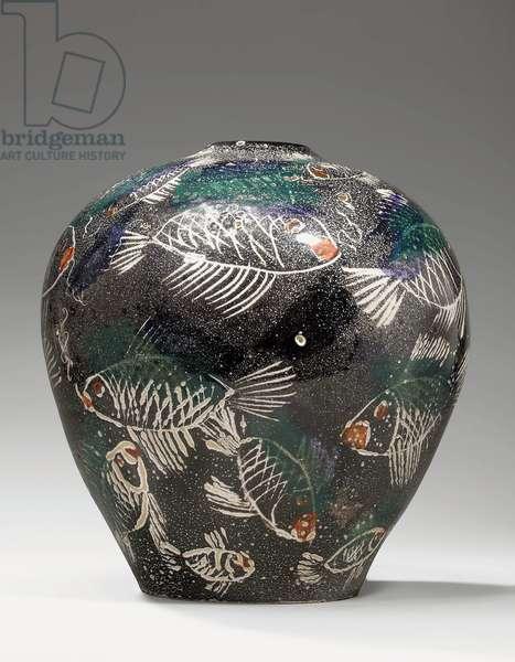 Rare polychrome vase, 1924-30 (enamelled earthenware)