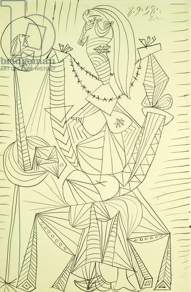 Seated Woman; Femme Assise, 1938 (pen and black ink on paper)