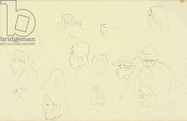 Studies of heads and figures, c.1893 (pencil on paper)
