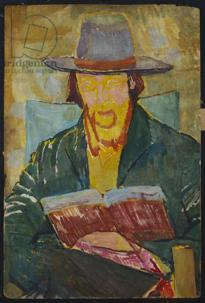 Portrait of Lytton Strachey Reading, 1913 (oil on panel)
