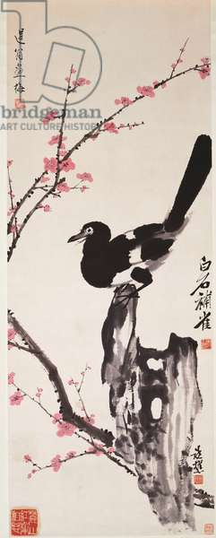 Plum Blossoms and Magpie (ink and colour on paper)