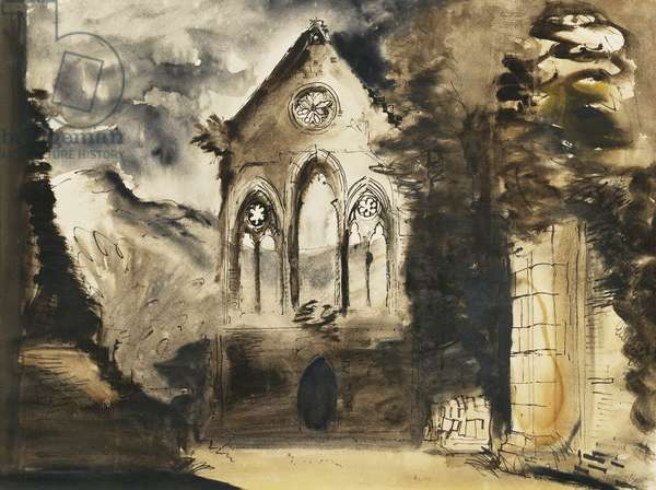 Ruined Abbey, (pen, brush, black ink and watercolour)