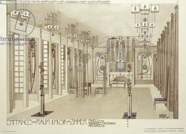 Design for a Music Room, c.1901 (colour lithograph)