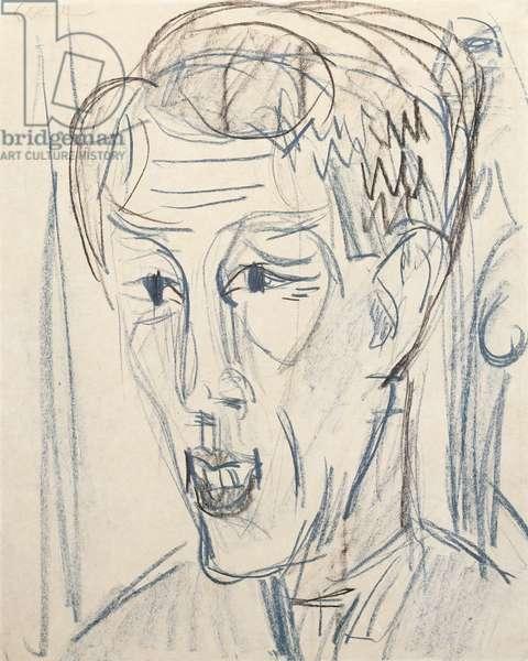 Head of Bauknecht; Kopf Bauknecht, 1922 (wax crayon on buff paper)