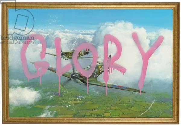 Glory, 2005 (spray enamel on found lithoic print and frame)