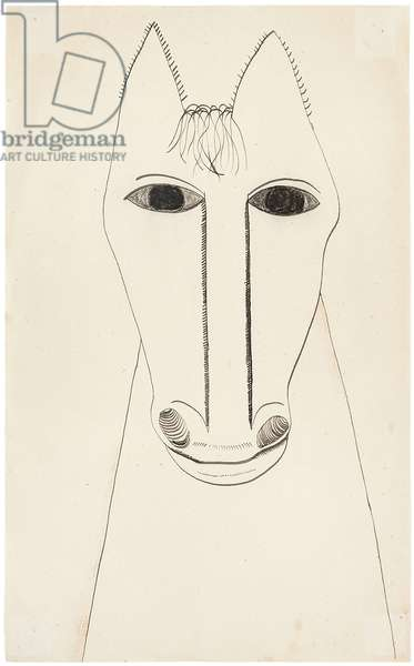 Head of a Horse, 1947 (ink & crayon on paper)