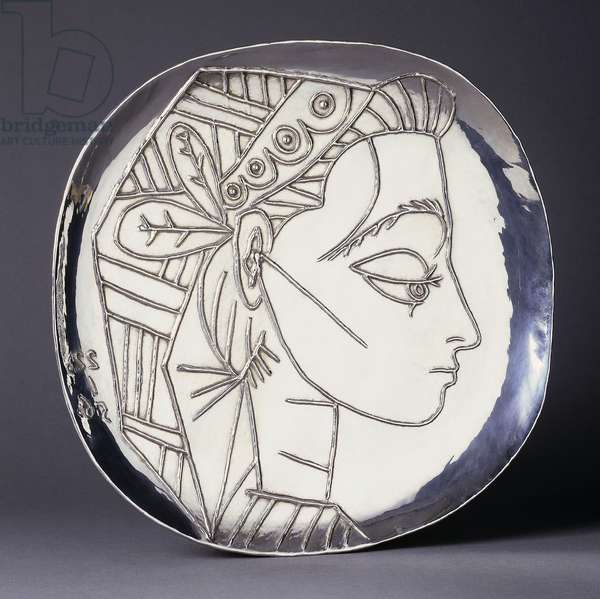 Jacqueline in Profile; Profil de Jacqueline, 1956 (silver plate)
