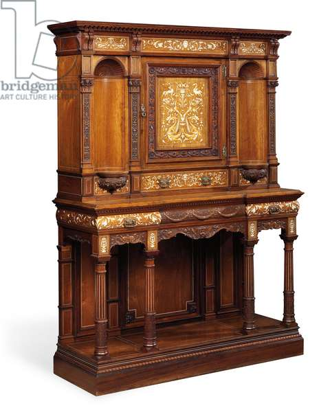A Late Victorian ivory-inlaid, rosewood, and marquetry cabinet-on-stand by Gillow & Co., Lancaster, possibly designed by Stephen Webb, c.1900 (rosewood)