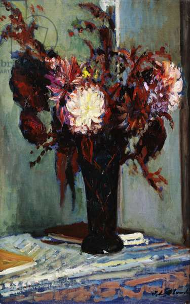 Chrysanthemums in a Vase, (oil on canvas)