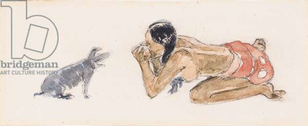 Tahitian Woman with Pig (Otahi), c.1893 (w/c & chalk on paper)