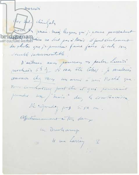 Signed letter to Salvador and Gala Dali (blue ink on paper)
