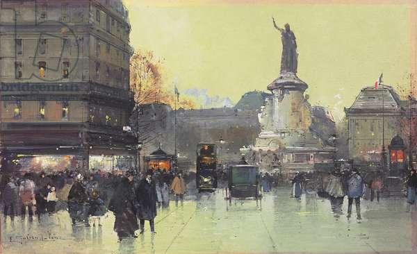 Place de la Republique, Paris,  (w/c & gouache on card)