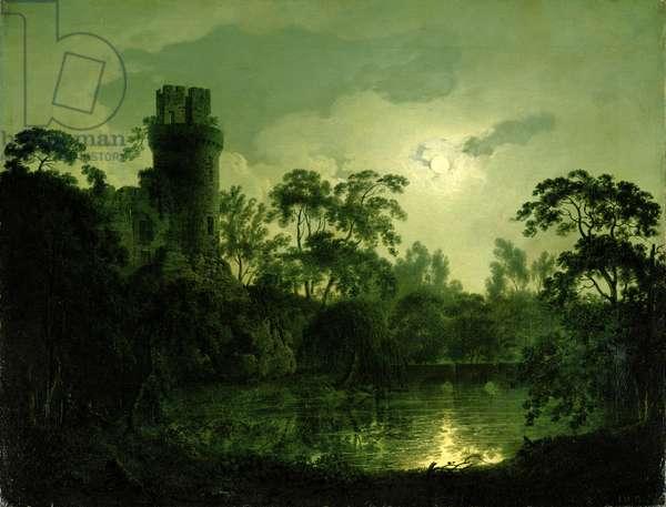 A Moonlit Lake by a Castle
