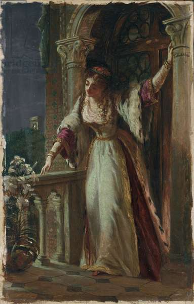 'It is I, be not afraid' - Juliet on her Balcony (oil on board)