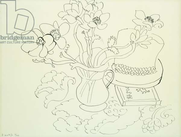 Vase d'Anemones, 1944 (pen and India ink on paper laid on board)