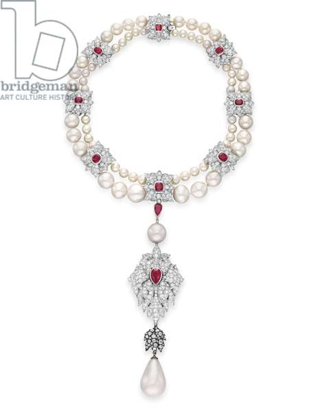 La Peregrina, necklace designed by Elizabeth Taylor with Al Durante of Cartier, 1972 (pearls, diamonds, rubies & platinum) (see also 469810, 469811 and 469844)