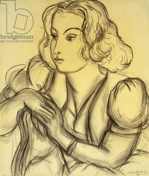 Woman Leaning; Femme Accoudee, 1940 (charcoal on paper)