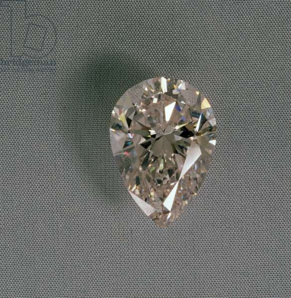 Flawless pear-shaped rose coloured diamond of 16.10 cts.