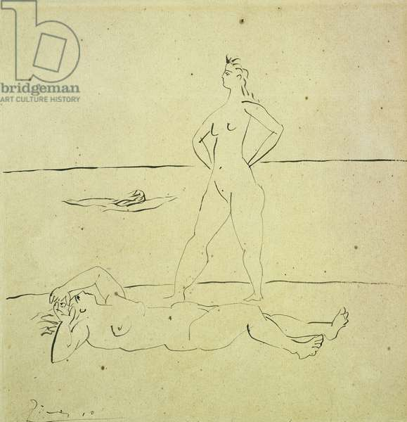 Bathers; Baigneuses, 1920 (pen and black ink on paper)