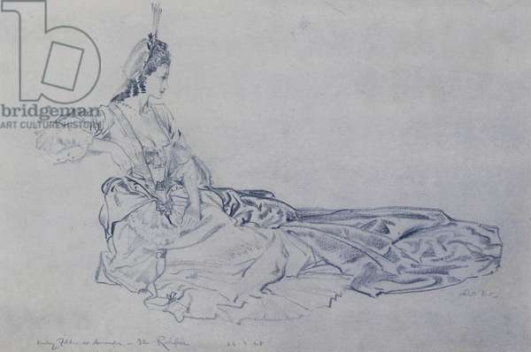 Audrey Fildes as Amanda in Vanburgh's Comedy The Relapse II,  (blue crayon and watercolour)