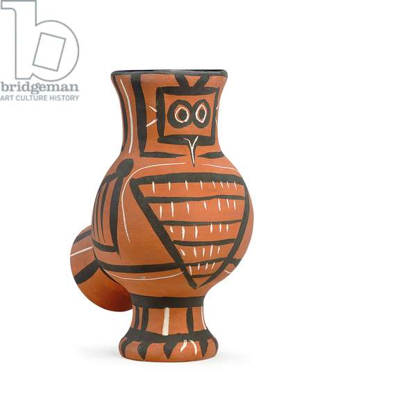 Mat wood-owl, 1958 (partially glazed earthenware)