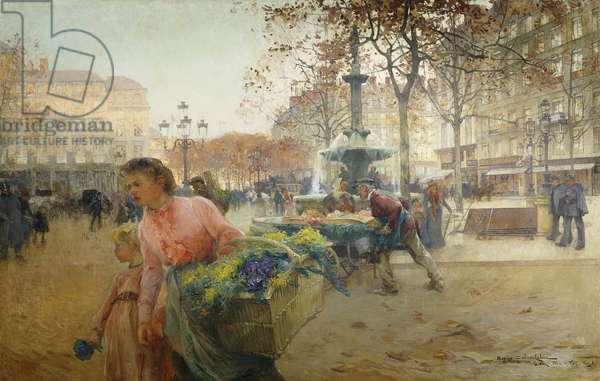 Place du Theatre Francais, Paris, 1902 (oil on canvas)