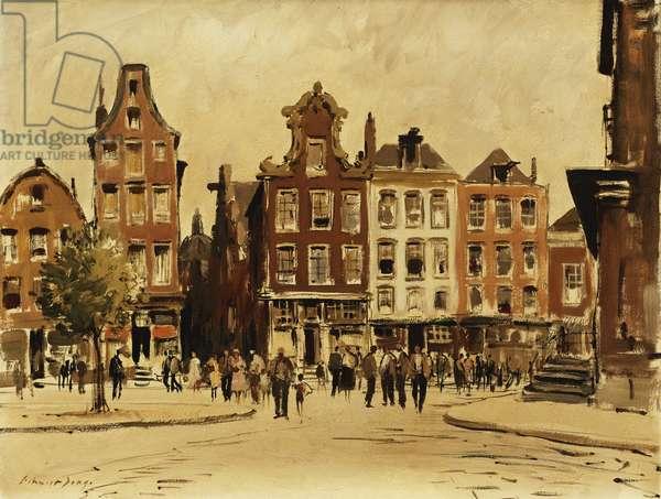 Stroommarkt, Amsterdam, (oil on canvas)