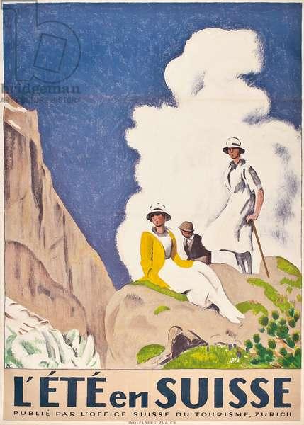 L'ete en Suisse, 1921 (colour lithograph)