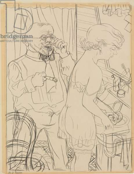 The Uncle; Der Onkle, 1929 (black crayon on paper)